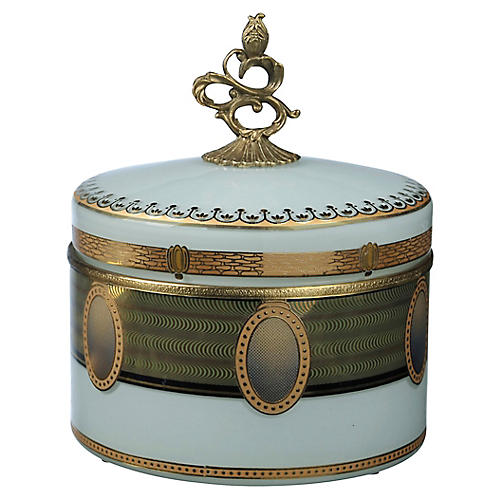 "9"" Verona Crown Box, Blue/Gold"