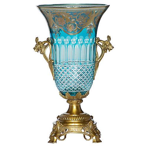 "16"" Carina Tall Chiseled Vessel, Blue/Gold"