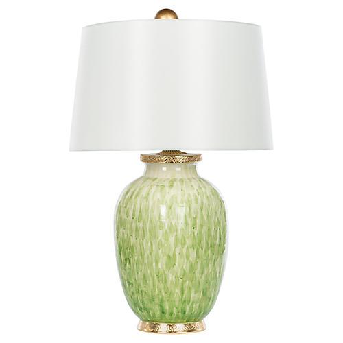 Veranda Wide Table Lamp, Soft Green/Gold