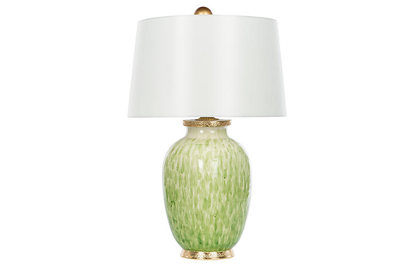 Veranda Wide Table Lamp, Soft Green/Gold