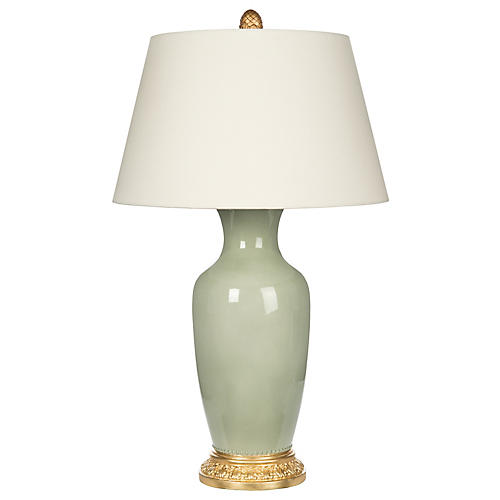 Aventine Table Lamp, Celadon/Gold