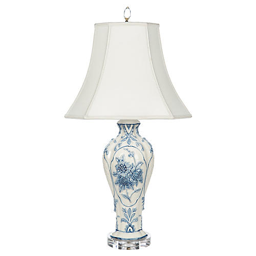 Belle Garden Table Lamp, Blue/Ivory