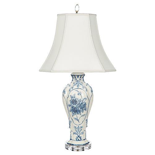 Belle Garden Table Lamp, Blue/Ivory