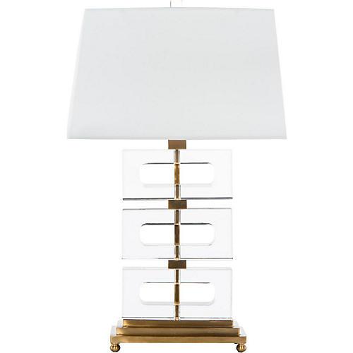 Crystalline Table Lamp, Clear/Brass