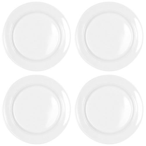 S/4 Diamond Round Melamine Bread Plates, White