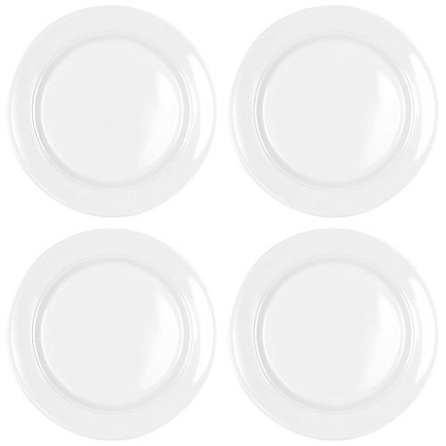 S/4 Diamond Round Melamine Bread Plates, White