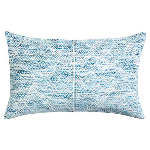 Nahualá 12x20 Lumbar Pillow, Blue/White