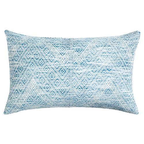Nahualá 12x20 Lumbar Pillow, Blue/White