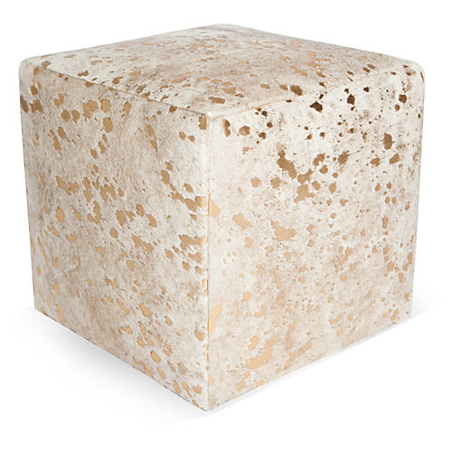"Cube 18"" Pouf, White/Gold Dot"
