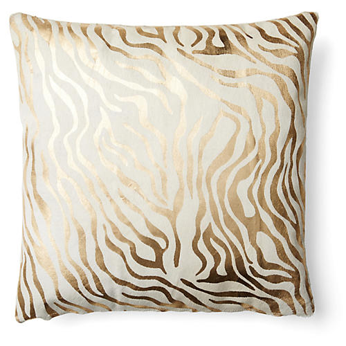Zebra Striped Pillow, Gold