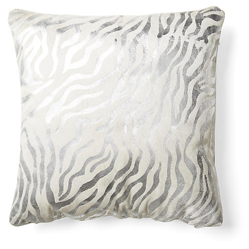 Zebra Striped Pillow, Silver