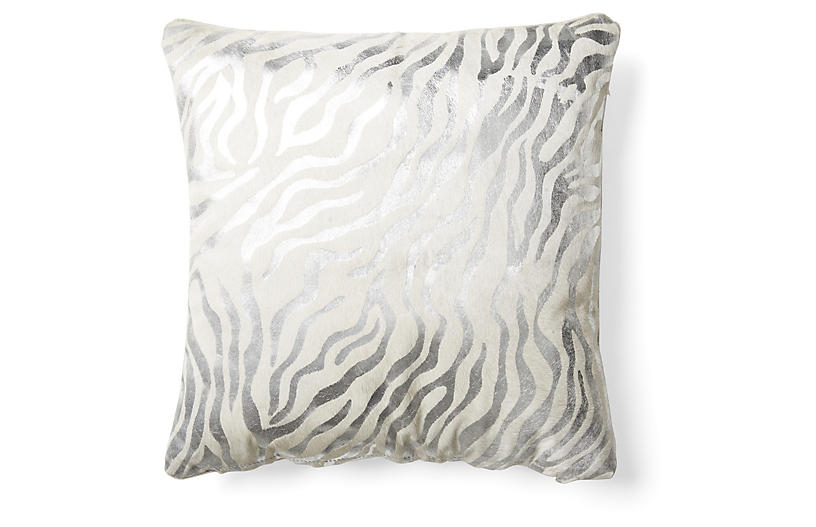 Zebra Striped Pillow - Silver - Le-Coterie