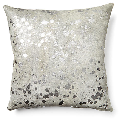 Splash Pillow, Silver/White