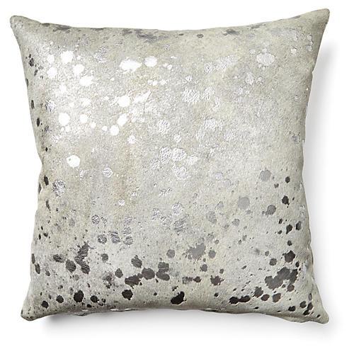 Splash Pillow, Silver/White