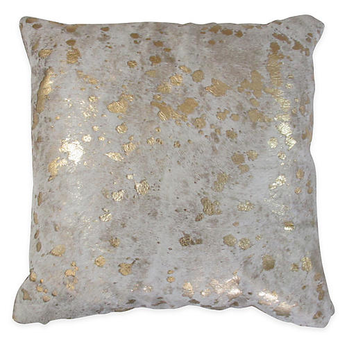 Splash Pillow, Gold/White