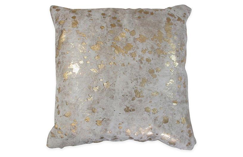 Splash Pillow, Gold/White