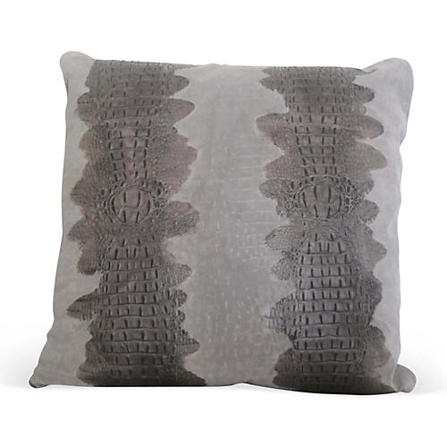 Croc Pillow, Gray Suede