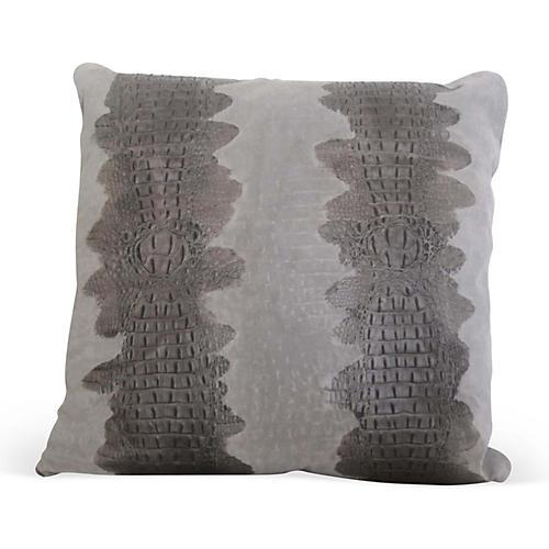 Croc Pillow, Gray Suede