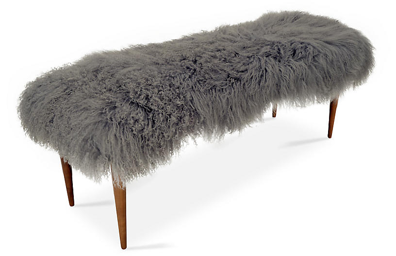 Curly Adolfo Bench, Gray