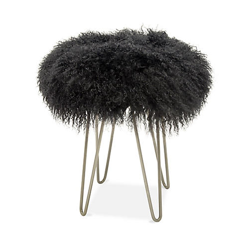 Curly Hairpin Stool, Silver/Charcoal