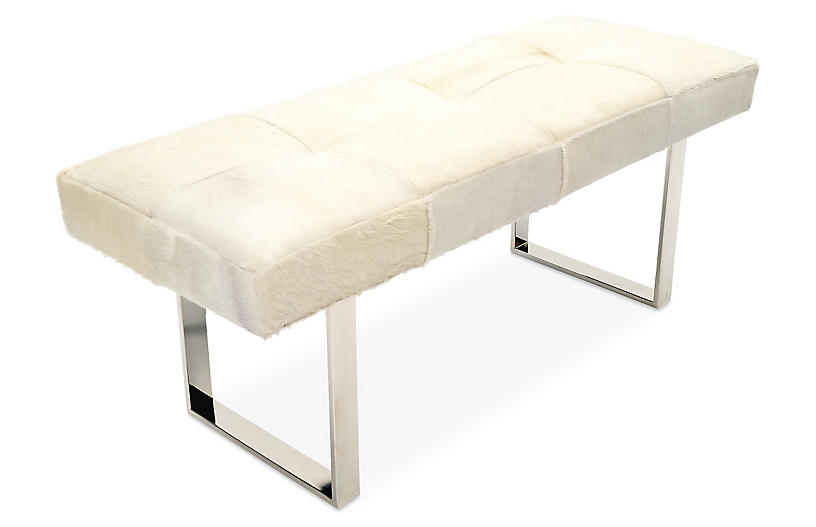Dena Bench, Silver/White