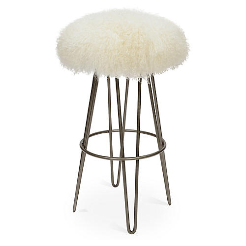 Curly Hairpin Barstool, Silver/Cream