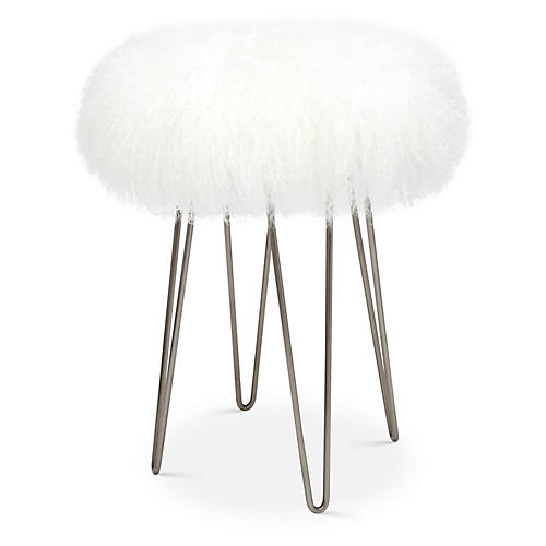 Curly Hairpin Counter Stool, White