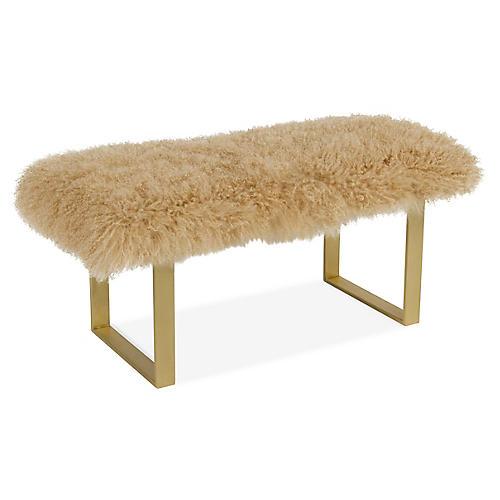 Skinny Curly BeBe Bench, Brass/Beige
