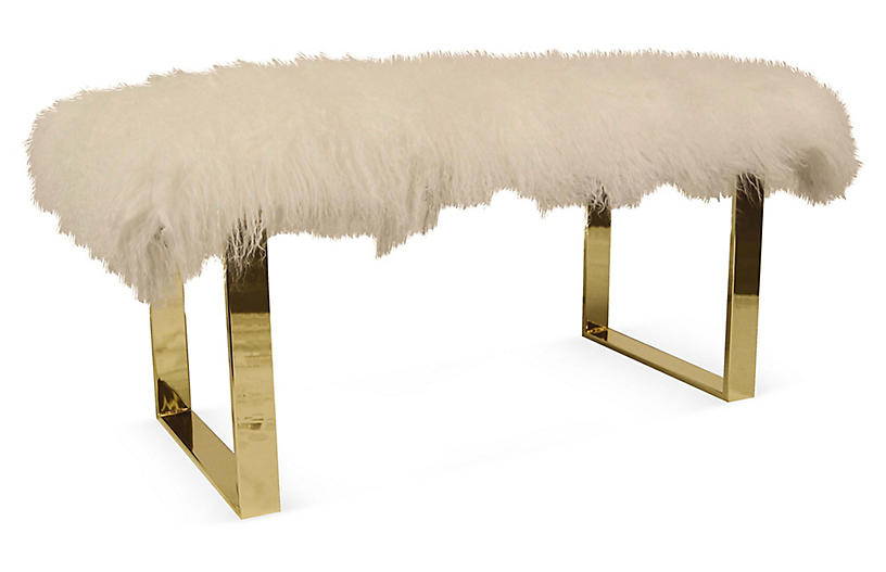 Curly BeBe Skinny Bench, Natural White
