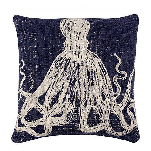 Octopus Sketch 22x22 Pillow, Navy