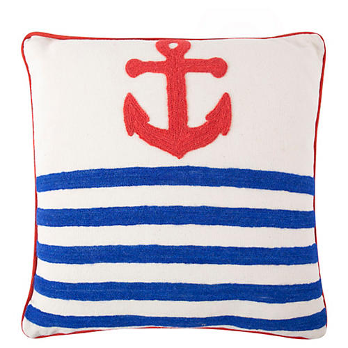 Anchor Crewel 18x18 Pillow, Blue