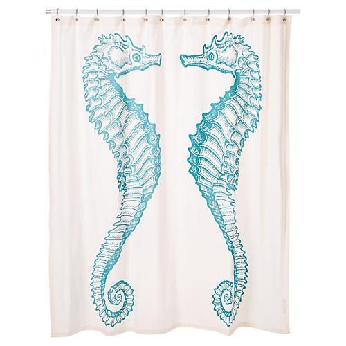 Seahorse Shower Curtain, Aqua