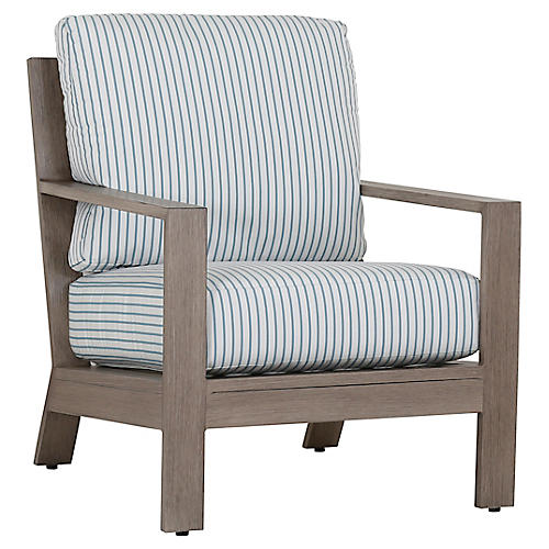 Laguna Club Chair, Ivory/Blue
