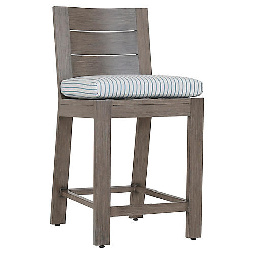 Laguna Counter Stool, Ivory/Blue