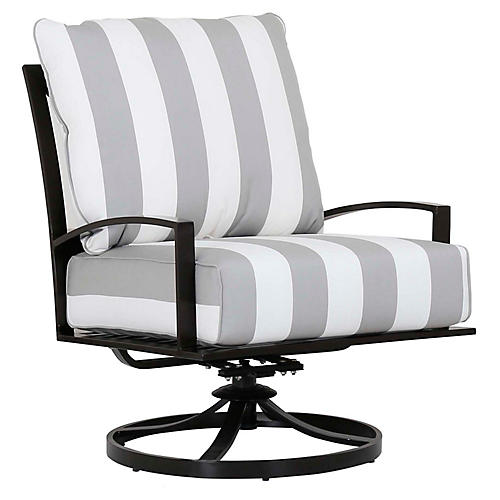 La Jolla Swivel Club Chair, Gray/White