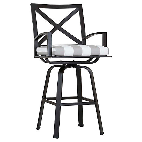 La Jolla Swivel Counter Stool, Gray/White