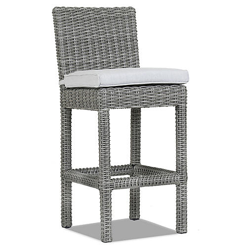Emerald II Counter Stool, Gray Sunbrella