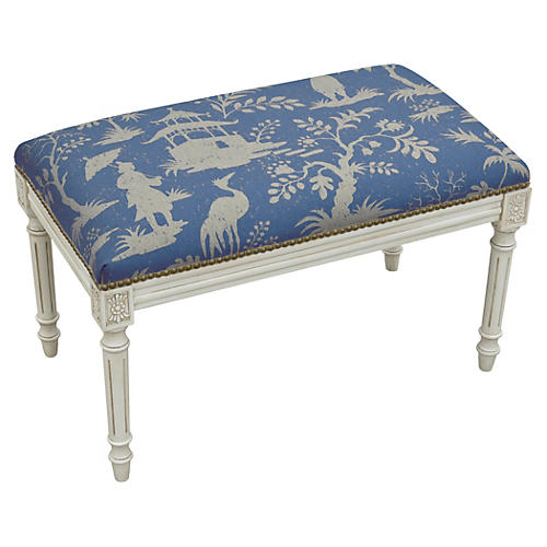 "Ollie 32"" Bench, Blue Chinoiserie"