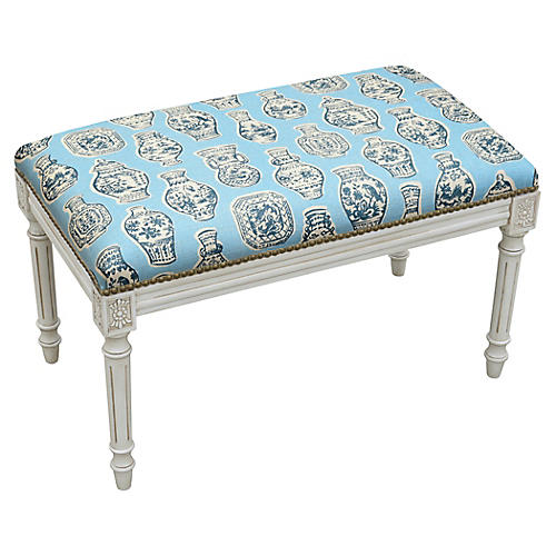 "Ollie 32"" Bench, Blue Ginger Jar"