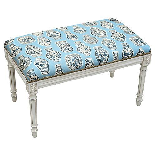 """Ollie 32"""" Bench, Blue Ginger Jar"""