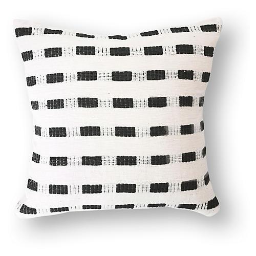 Bertu 20x20 Cotton Pillow, Onyx/White