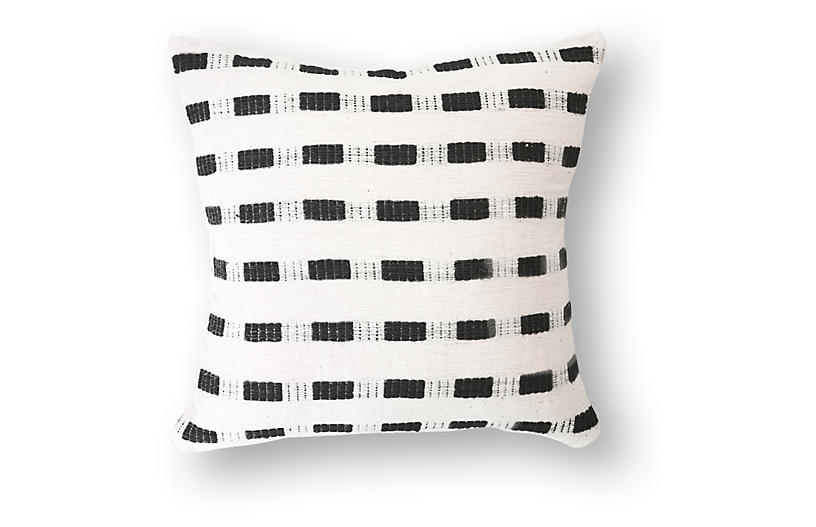 Bertu 20x20 Cotton Pillow, Onyx/White
