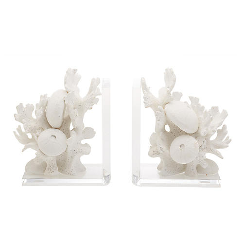 S/2 Brynlee Coral Bookends, White/Clear
