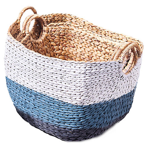 Asst. of 3 Gerard Handwoven Baskets, Blue/White