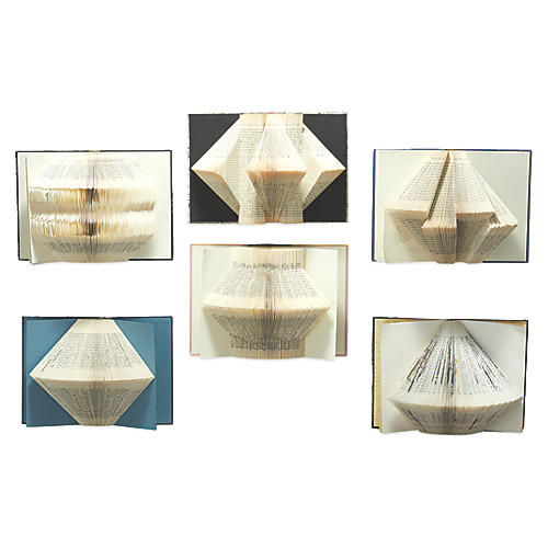 Fanned-Book Wall Sculptures, Ivory/Multi