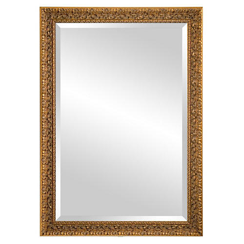 Classic Carved Wood Mirror, Gold