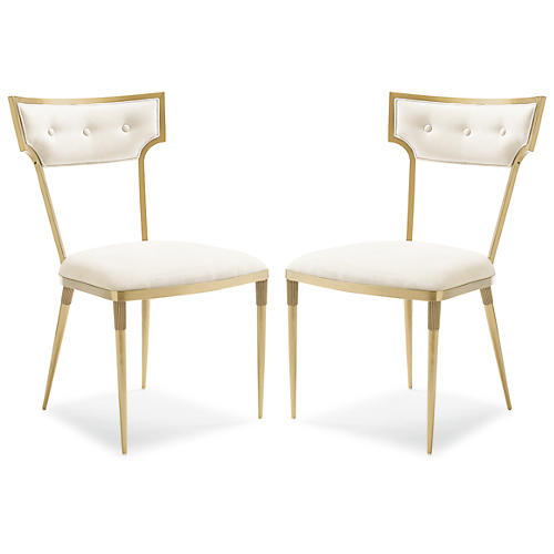 S/2 Goes Around Side Chairs, Champagne Gold