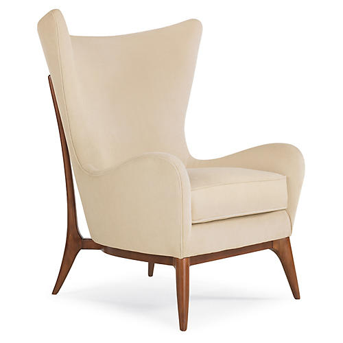 Ponce Wingback Chair, Cream