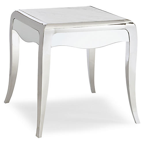 Avant Garde Side Table, Silver/White