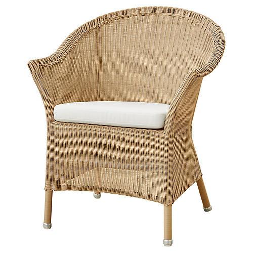 Lansing Armchair, White Sunbrella